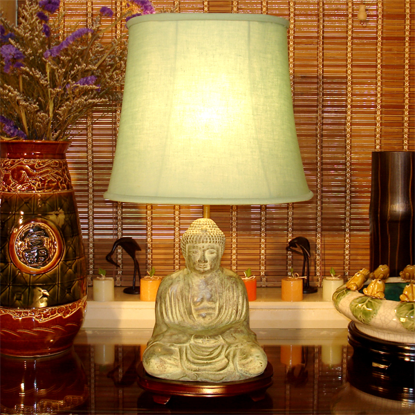 Meditating buddha table lamp sum ngai brass colors available aloadofball Images