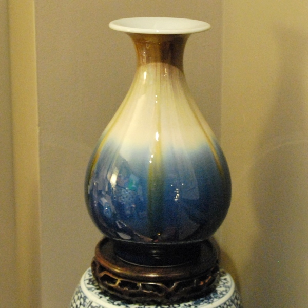 Sapphire Glazed Pear-shaped Vase with Flared Mouth Rim