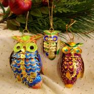 Cloisonné hanging owl family